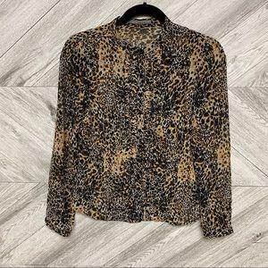 Zara Leopard Button Down Mock Neck Blouse Size XS
